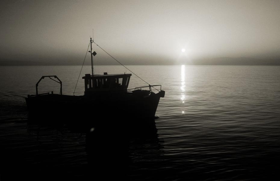 boat at sundown