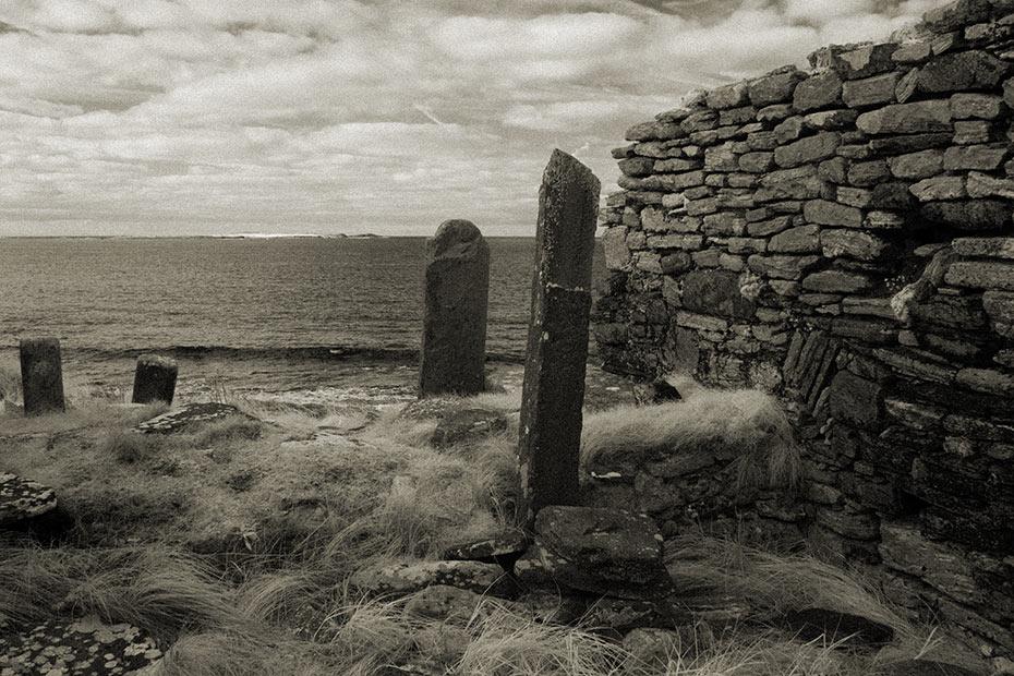 Worn Ogham stone
