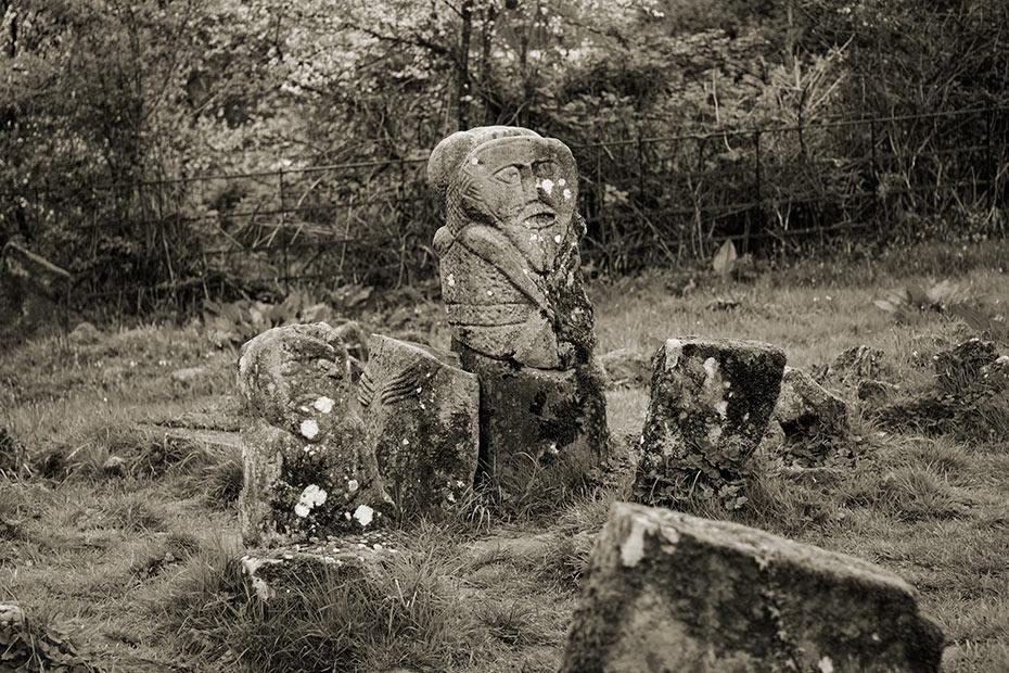 Caldragh graveyard pagan statues